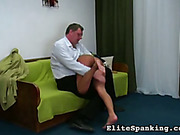 Cruel guy spanking his screaming wife