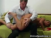 Cruel guy spanking his screaming wife