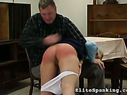 Disobedient schoolgirl got ass red after OTK spanking