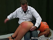 Blonde wearing high heels and bikini was spanked