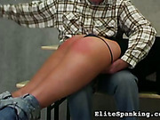 Cute schoolgirl got classrom spanking session