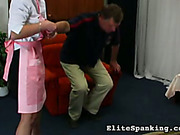 Brutal man attacked and spanked bare ass maid