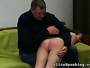 Angry male punisher OTK spanked young naughty ass