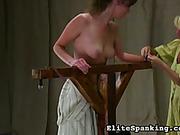 Old style chick flogged her tied brunet slavegirl