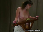Old style chick flogged her tied brunet slavegirl