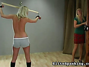 Stretching and body whipping with young blondes