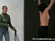 Strict blond mistress showed lashing skills spanking