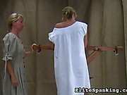 Victorian style mistress undressed and whipped blonde