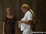 Old style disobedient schoolgirl was whipped by headmistress