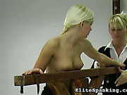 Submissive teen blonde undressed topless and flogged