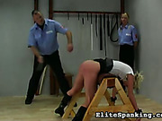 Red ass of punished blonde got wet caning