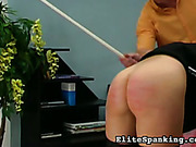 Young maid bent and got ass caned