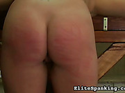 Hard ass caning in pads for redhead bitch
