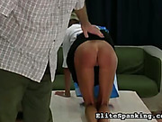 Ass burning red after punishment for maid