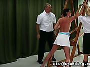 Bound and cruelly whipped young woman