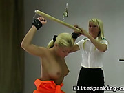 Stretched and back whipped blond prisoner babe
