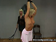 Sexy young blonde undressed and whipped by mistress
