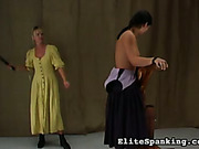 Oldstyle topless maid got back whipped by mistress