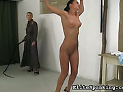 Strict blond mistress bullwhipped her housemaid