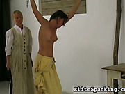 Body whipping of old style maid from mistress
