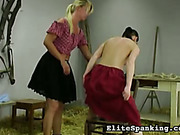 Slutty country girls have whipping game in barn
