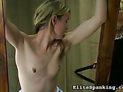 Skinny young maid bound and whipped by mistress