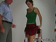 Bent over wooden horse victim wants spanking