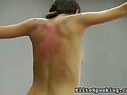 Bondage and  back whipping with two hot brunettes