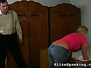 Amateur Euro girl suffered from ass caning set