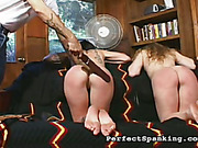 Dude punished tattooed slut and her lesbo girlfriend