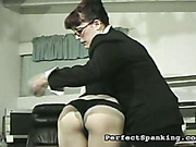 Secretary got her ass spanked by lady boss