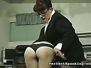 Secretary got her ass spanked by lady boss