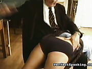 Old headmaster caned and spanked disobedient schoolgirl