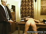 Schoolgirl disciplined by elderly schoolmaster and mistress