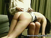 Perverted redhead MILF caned and spanked poor blonde