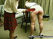 Perverted babes play bad schoolgirls to get spanking