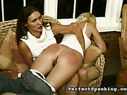 Strict momma disciplined her daughter with corporal
