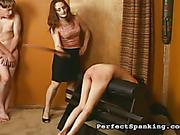 Boy and girl got asses paddled by cruel headmistress