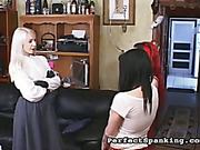 Blond dominatrix spanked and abused female victims