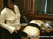 OTK spanking and paddling exam from cruel mistress