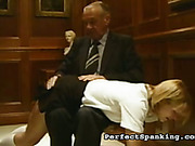 Naughty secretary got OTK spanking from angry boss
