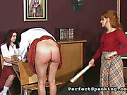 Schoolgirls lifted skirts and were punished by mistress