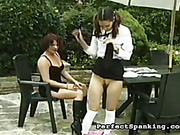 Perverted stepmother punished girl in the open air