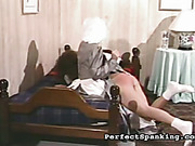 Rough OTK spanking for young Victorian style maid
