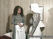 Young maid OTK spanked by oldstyle mature bitch