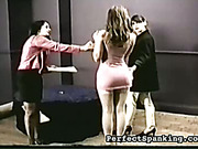 Two lesbo mistresses punish bigass bitch