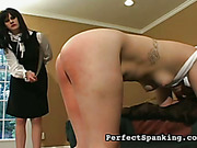 Pierced redhead bitch strapped and caned