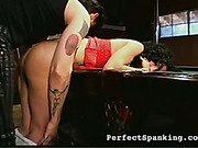 Sexy mulatto girl punished on pool table