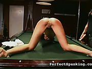 Skinny mulatto bitch spanked on billiards table