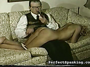 Slut had to bear caning and OTK spanking